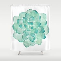 Buy Shower Curtains featuring Watercolor Succulent print in seafoam green blue color botanical abstract painting by Peggie Prints. Made from 100% easy care polyester our designer shower curtains are printed in the USA and feature a 12 button-hole top for simple hanging.