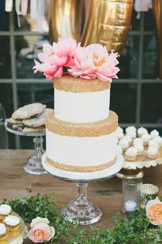 Glittering Gold Cake with Coral Peony Topper | onelove photography | Stylish Rockstar Wedding at a Southern California Vineyard in Ivory, Coral, and Gold