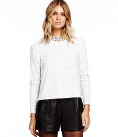 Long Sleeve Sweatshirt with Jewels - Sweaters & Jackets