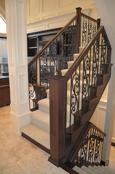 Unique Home Architecture — Open Staircase Ideas charisma design Wrought Iron Staircase, Open Staircase, Staircase Railings, Banisters, Staircases, Iron Spindle Staircase, Timber Staircase, Wood Railing, Wood Stairs