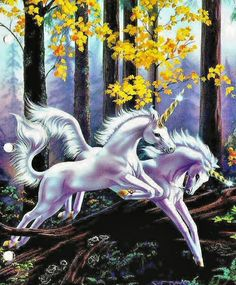 Leaping Unicorns by Sue Dawe. Her artwork had a strong influence on my writing as a young girl.