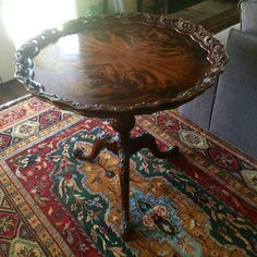 $1,895.00 STUNNING ORNATE ANTIQUE ENGLISH MAHOGANY HAND CARVED PIERCED PIE CRUST TABLE #Chippendale #Unknown