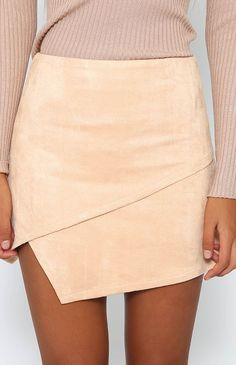 Cross Over Mini Skirt - Beige …