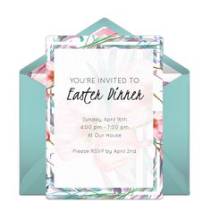 We love the colors in this free digital Easter invitation. Easily to personalize and send online to friends and family for any Easter celebration or get-together.