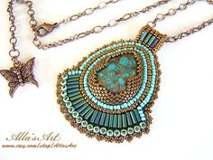 Seed bead pendant with Turquoise от AllasArt на Etsy, $73.00