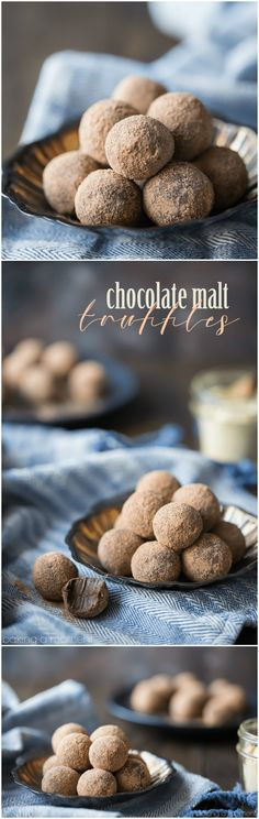 Malt Truffles Need an easy homemade gift? These chocolate malt truffles are sure to please! YouNeed an easy homemade gift? These chocolate malt truffles are sure to please! Köstliche Desserts, Delicious Desserts, Dessert Recipes, Yummy Food, Candy Recipes, Holiday Recipes, Baking Recipes, Chocolate Malt, Chocolate Desserts