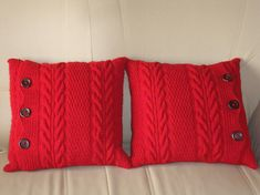 Two Red Pillow covers, Christmas gift, knitted pillow cover, decorative pillows, sofa throw pillos, knitted cushions, decorative red pillows