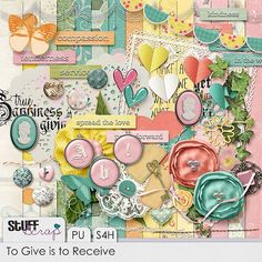 """Quality DigiScrap Freebies: """"To Give Is To Receive"""" full kit freebie from Hat of Bunny  (TIP: it's a facebook freebie... when you get to the page, look for the little word """"more"""" in the gray bar below the kit's picture on the right. Click on that to open two sets of download links)."""