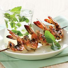 Mojito Shrimp  Photo: Thomas J. Story; Styling: Dan Becker  These sweet, juicy shrimp taste of fragrant mint and lime, their aromas amplified by rum.