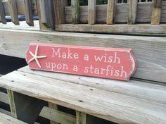 Beach Sign Make A Wish Upon A Starfish Baby Nursery Coastal Decor CORAL