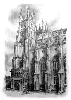 Canterbury Cathedral, Charcoal, compressed charcoal, pencil.