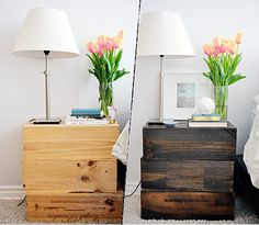 DIY Idea: Turn Wine Crates into a Nightstand Lark & Linen - If you're looking for a way to stretch your design budget, these wine crate night stands are an easy and affordable way to go. Night stands DIY Idea: Turn Wine Crates into a Nightstand Crate Nightstand, Rustic Nightstand, Rustic Furniture, Diy Furniture, Cheap Nightstand, Nightstand Ideas, Bedside Tables, Furniture Movers, Furniture Projects