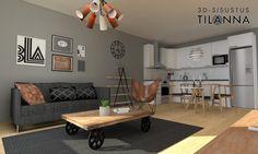3D-sisustussuunnittelu ja -stailaus/ retro olohuone, harmaa tehosteseinä, tammiparketti, sohvapöytä pyörillä, nahkainen konjakin värinen lepakkotuoli, ph snowball valaisin, hay copenhague (CPH 20) pöytä, CH24 ja CH20 tuoli/ Sancon, Åkerskränden 13/ 3D-sisustus Tilanna
