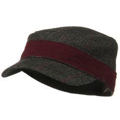 Wool Blend Two Tone Army Cap - Burgundy