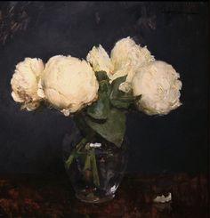 .:. white peonies. Michael Klein, oil