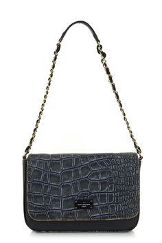 Paul's Boutique Nicole cross-body bag in Black Croc : www.paulsboutique.com.