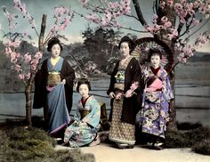 """Ponta and O-Yen with two Hangyoku """" """"Ponta and O-Yen (Oen) were two famous Shinbashi Geisha. O-Yen (centre - standing) was renowned throughout Japan for her Cherry Dance and Ponta (far left). Japanese Geisha, Japanese Beauty, Vintage Japanese, Japanese Folklore, Asian Beauty, Old Pictures, Old Photos, Vintage Photographs, Vintage Photos"""