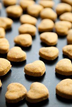 pumpkin peanut butter dog treats. I would substitute the wheat flour for oat flour.