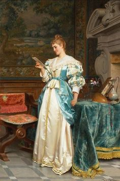 books0977:  Agreeable Tidings.Tito Conti (Italian, 1842-1924). Oil on canvas.  Beautiful renderings of fabrics.  Conti is considered a 19th century master of genre from the Italian School whois known for his precise attention to detail bringing each character to life.