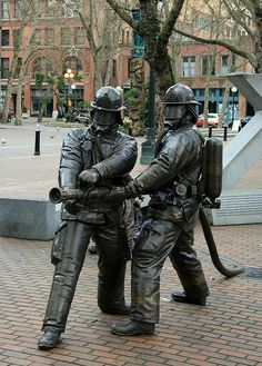 seattle fire department | Seattle Fire Department monument at Occidental Park | Flickr - Photo ...