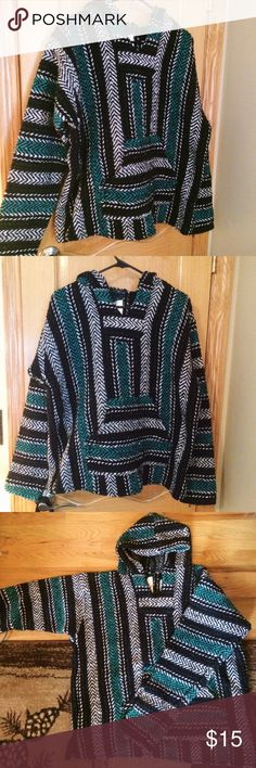 "Baja Joe Hoodie This is a unisex pullover ""Drug Rug"" from Baja Joe. It's teal, white and black, never worn and keeps you super warm. Make an offer! Baja Joe Tops Sweatshirts & Hoodies"