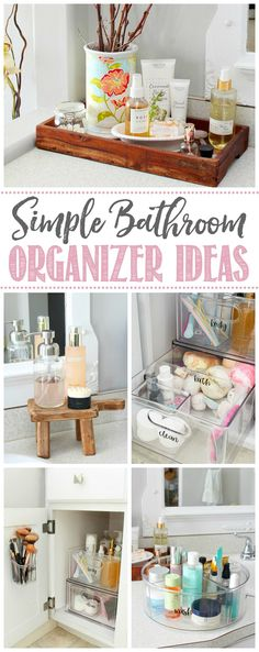 Bathroom cabinet organizers to keep your bathroom cabinets pretty and organized. / Check out these beautiful bathroom cabinet organizer ideas for a pretty and organized bathroom space. Easy organization ideas for any sized bathroom! Bathroom Counter Organization, Bathroom Cabinets, Home Organization, Organized Bathroom, Organizing Ideas, Household Organization, Bathroom Shelves, Bathroom Storage, Simple Bathroom