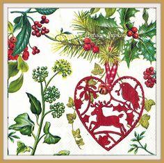 VENTA *** dos servilletas de papel para DECOUPAGE - Navidad rojo corazón y…