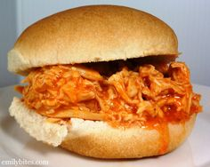 My kind of recipe from Emily Bites - Weight Watchers Friendly Recipes: Slow Cooker Buffalo Chicken