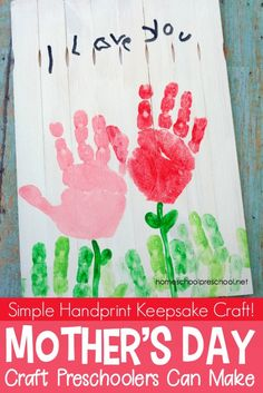 Young kids love making gifts for others. Here's a Mother's Day craft that is sure to become a treasured keepsake for many years to come. #homeschoolprek #mothersdaycraft #handprintcraft #paintstickcraft #craftforkids #preschoolcrafts https://homeschoolpreschool.net/precious-handprint-mothers-day-craft-kids-can-make/