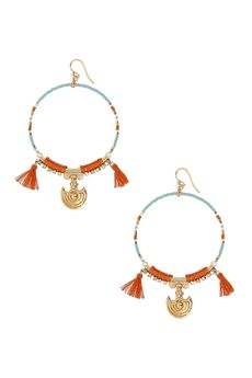 Turquoise Mix Statement Hoops