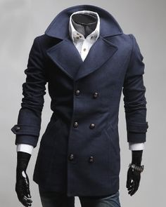 Men's Double Breasted Mid Length Coat
