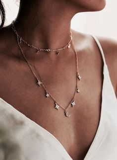 stars layered necklace.