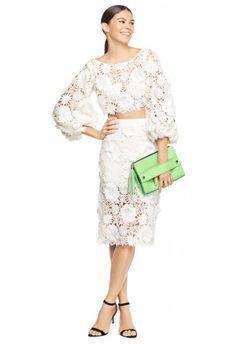 3d Floral Embroidery Slim Midi Skirt