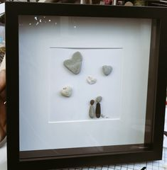 Anniversary card with keepsake frame Pebble Art, Anniversary Cards, Sea Glass, Door Handles, Greeting Cards, Heart, Frame, Crafts, Design