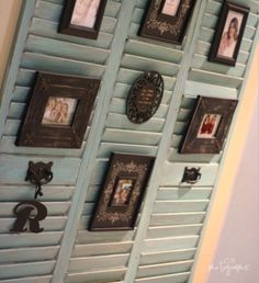 Shop Displays •~• shutters for pictures, tuck easel-back into slats