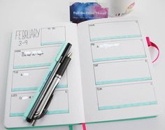 Since Feb has arrived I will show my layout for the first week. This was inspired by a layout I saw on Pinterest. I just bought the Staedler Triplus Highlighters in lovely pastel colours and I adore them. Edit: that's not white out, I photoshop brushed over the personal info before posting. #pulltheotherthread #bulletjournal #layout #february Pastel Colours, Highlighters, February, About Me Blog, Photoshop, Bullet Journal, Layout, Inspired, Stuff To Buy