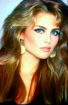 Kim Alexis 1980s hair and makeup.