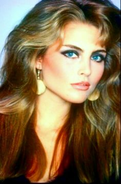 Kim Alexis 1980s hair and makeup.