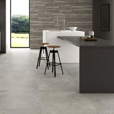 This rectified, oversized grey floor tile will find favour with fans of the minimalist look. A true classic. Informations About Bellagio Large Grey Floor Tiles 75 x 75 cm Pin You can easily use my pro Large Kitchen Tiles, Marble Floor Kitchen, Large Floor Tiles, Grey Floor Tiles, Kitchen Flooring, Granite Flooring, Grey Flooring, Flooring Tiles, Floors