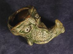 Martin Brothers Pottery - Grotesque Fish Spoon Warmer. Painted & Glazed Stoneware. Southall, Middlesex, England. Circa 1908. 12.5cm.