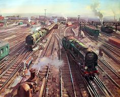 Clapham Junction (British Railways poster artwork) by Terence Cuneo, 1961 British Railways, Southern Railways, Train Posters, Railway Posters, Transformers, Steam Railway, Train Art, Art Uk, Train Travel