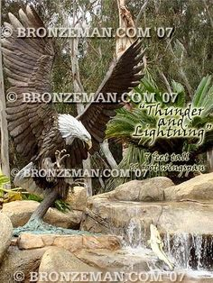 """""""Thunder & Lightning"""" Outdoor Bronze Eagle Statue - Quality, attention to detail and experience do make a difference. Ensure you get the best. Call the Bronzeman today at (877) 528-2531."""