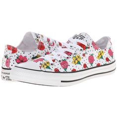 Converse Chuck Taylor® All Star® Floral Polka Dot Print Ox ($55) ❤ liked on Polyvore