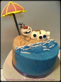 Frozen Olaf chillin' by the waves-- fondant by Glamfusions Studio www.facebook.com/glamfusionstudio
