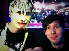 Dan and phil after Dan having custard poured on his head!