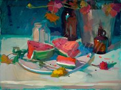 This water melon looks so juicy and sweet I just want to take a bite! The rich colors and inviting plate remind me of blissful summer days gone-by and warm summers days to look forward to.  This image is offered on Arches, William Turner or canvas, please note which in your order.