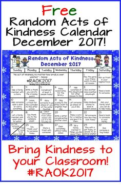 FREE Random Acts of Kindness calendar for December! Perfect for children and in the classroom! #randomactsofkindness #kindergarten