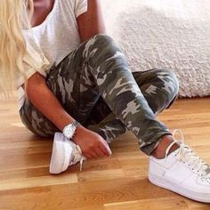 Trendy Style Camouflage Print Narrow Feet Pants For Women ($18) ❤ liked on Polyvore featuring pants, army green, army green pants, camouflage pants, camo pants, camoflauge pants and camouflage trousers