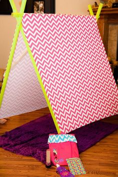 DIY tent at a Glamping Party via Kara's Party Ideas Kara'sPartyIdeas.com ---> Daddy-daughter project idea!!