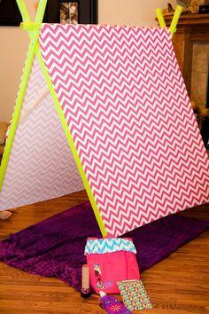 DIY tent at a Glamping Party via Kara's Party Ideas Kara'sPartyIdeas.com ---> Daddy-daughter project idea!!